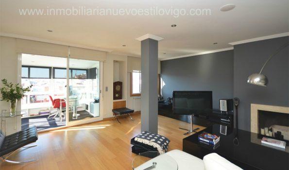 Impresionante ático dúplex de cinco habitaciones con gran terraza y chimenea en C/Gran Vía_Vigo-Zona Centro Corte Inglés